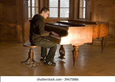 piano player in old castle