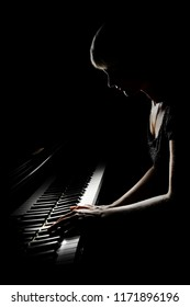 Piano player. Pianist concert playing. Grand piano concert. Classical musician isolated on black
