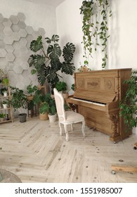 the piano in the room. interior with flowers and piano