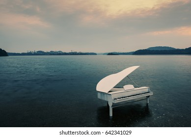 Piano in sea