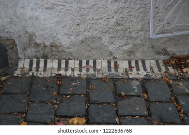 Piano shaped lines on pedestrian street in Szentendre city, Hungary.