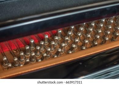Piano strings, inside a grand piano.