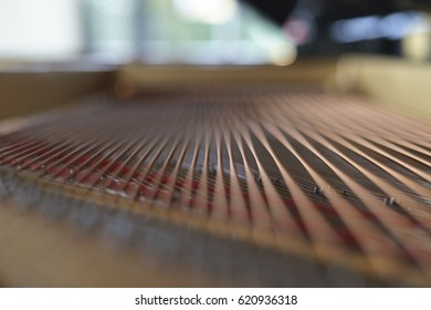 Piano strings from the inside. Very shallow depth of field. Inside picture.