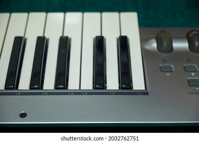 Piano or synthesizer keyboard ,Traditional musical instrument with keyboard and sound effects