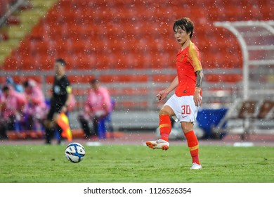 Piao Cheng No.30 of China in action during 2018The International Friendly Match between Thailand and China at the Rajamangala Stadium on June 2, 2018 in Bangkok,Thailand,