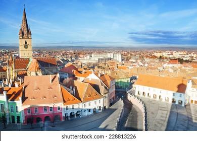 Piata Mare (Large square) in Sibiu, Romania after Christmas time