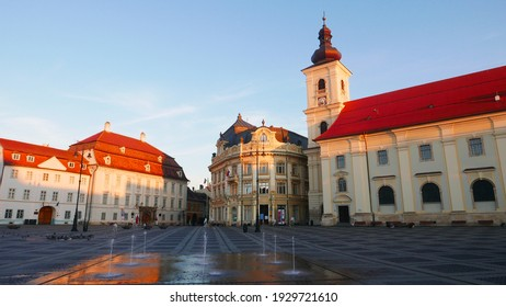 Piata Mare from Sibiu, in the beauty of sunrise