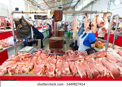 PIATIGORSK FOOD MARKET, RUSSIA - 21 MAY, 2019: Piatigorsk central meat market. Variety of fresh meat.