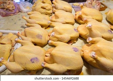 PIATIGORSK FOOD MARKET, RUSSIA - 21 MAY, 2019: Piatigorsk central meat market. Fresh chiken meat on the marketplace.