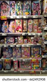 PIATRA NEAMT, ROMANIA - DECEMBER 12 2016: Barbie dolls for sale in Carrefour supermarket