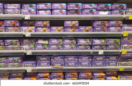 PIATRA NEAMT, ROMANIA - DECEMBER 12 2016: Milka chocolate for sale in Carrefour supermarket store