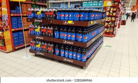 PIATRA NEAMT, ROMANIA - JANUARY 12 2019: Pepsi Cola juice drinks for sale on supermarket shelf