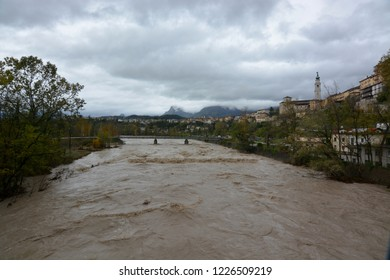 the Piave river crossing Belluno After the great bad weather of October