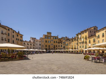Piazza Anfiteatro in Lucca, Tuscany (Italy) in a sunny day
