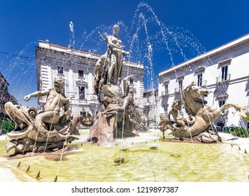 Piazza Archimede with the Diana fountain in Syracuse in Sicily