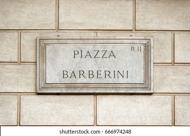 Piazza Barberini street sign on the wall in Rome, Italy