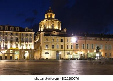 Piazza Castello and Church of San Lorenzo at night, Turin, Italy