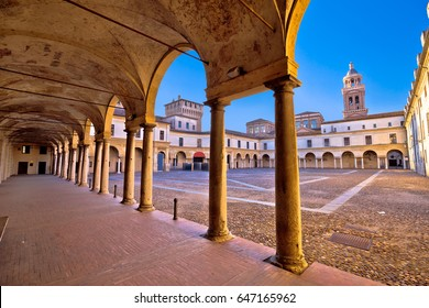 Piazza Castello in Mantova architecture view, European capital of culture and UNESCO world heritage site, Lombardy, Italy