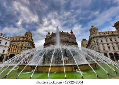 Piazza de Ferrari is the main square in historic Genoa (Genova), Italy.  This fountain is a popular tourist attraction and is an important landmark.