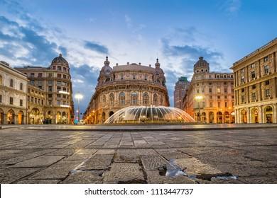 Piazza De Ferrari square in Genoa, Italy
