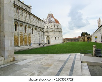 Piazza dei Miracoli with the Basilica and the leaning tower in Pisa, Italy