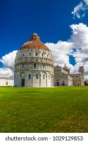 Piazza dei Miracoli (Square of Miracles) - Baptistery, Cathedral And The Leaning Tower - Pisa, Italy, Europe