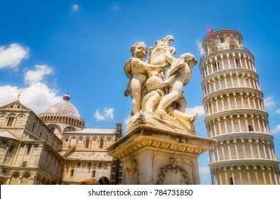 The Piazza dei Miracoli 'Square of Miracles,' location of the Leaning Tower of Pisa in Italy
