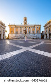 Piazza del Campidoglio on the top of Capitoline Hill with the facade of Palazzo Senatorio, Rome, Italy