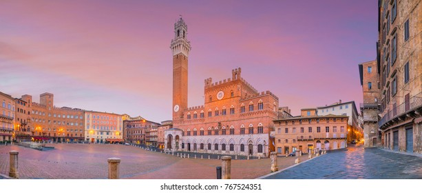 Piazza del Campo in Siena, Italy at twilight