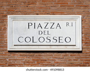 Piazza del Colosseo - Colosseum Square Marble Sign in Rome, Italy