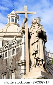 Piazza del Duomo in Catania and the Cathedral of Santa Agatha in Catania in Sicily, Italy