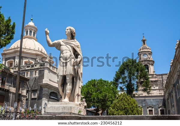 Piazza del Duomo in Catania with the Elephant Statue and the Cathedral of Santa Agatha in Catania in Sicily, Italy