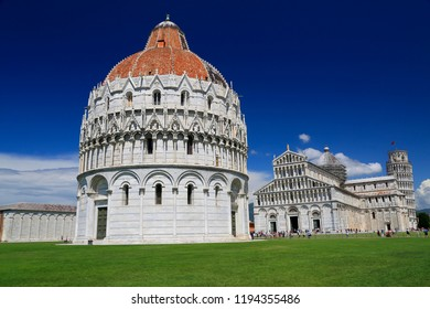 Piazza del Duomo in Pisa, Baptistery and Basilica, Italy