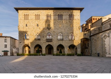 The Piazza del Duomo in Pistoia and the Palazzo del Comune without people, Tuscany, Italy