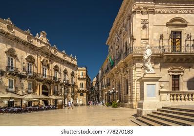 Piazza del Duomo Square in Ortigia, Syracuse, Sicily, Italy