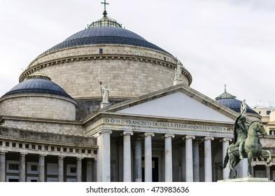 Piazza del Plebiscito, church of San Francesco di Paola, Naples, Italy