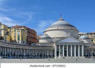 Piazza del Plebiscito, in Naples, Italy. Naples is the capital of the Italian region Campania.