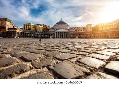 Piazza del Plebiscito, Napoli, Italy. Travel destination concept