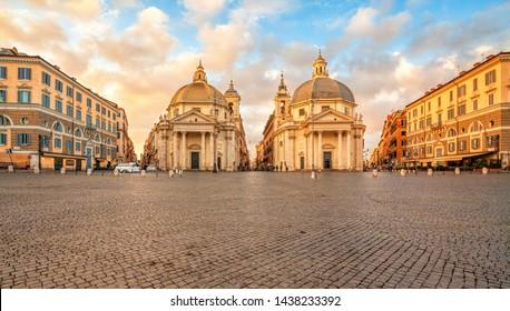 Piazza del Popolo (People's Square), Rome, Italy. Churches of Santa Maria in Montesanto and Santa Maria dei Miracoli. Rome architecture and landmark.