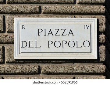 Piazza del Popolo (People's Square) in Rome old marble sign, a famous tourist attraction