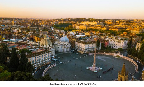 Piazza del Popolo square in Rome with sunrise light, beautiful historical center of the capital of Italy, aerial panoramic view above downtown