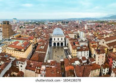 Piazza della Loggia aerial panoramic view, a one of the main squares of Brescia city in north Italy
