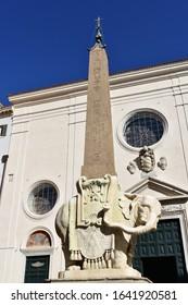 Piazza della Minerva Obelisk with Bernini Elephant. Rome, Italy.