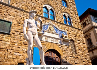 Piazza della Signoria statue of David by Michelangelo and Palazzo Vecchio of Florence view, Tuscany region of Italy