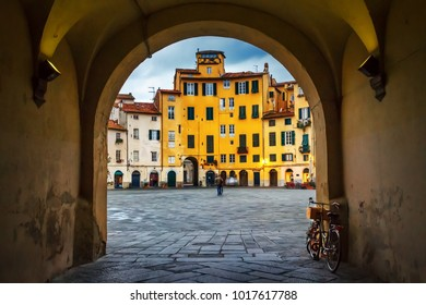 Piazza dell'Anfiteatro old square in Lucca, Tuscany, Italy