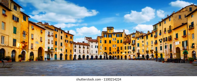 Piazza dell'Anfiteatro old square in Lucca, Tuscany, Italy. Panorama cityscape view