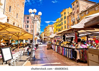 Piazza delle erbe in Verona street and market view, Veneto region of Italy