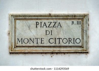 piazza di monte citorio rome street sign close up detail