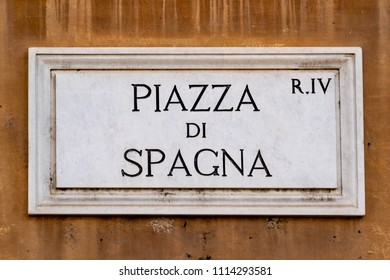 piazza di spagna rome street sign detail