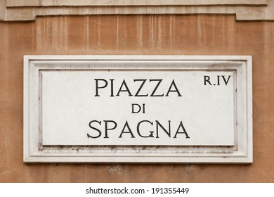 Piazza di Spagna  sign on a wall at Piazza di Spagna, Rome Italy
